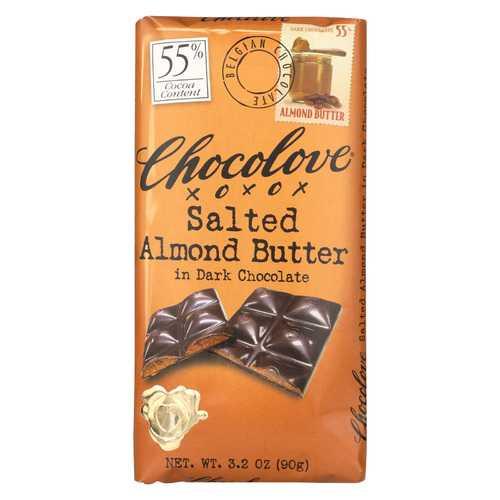 Chocolove Xoxox Dark Chocolate Bar - Salted Almond Butter - Case of 10 - 3.2 oz