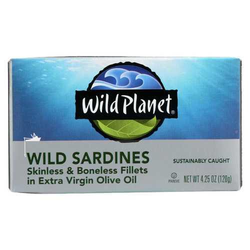 Wild Planet Wild Sardines - Skinless Boneless Fillets in Olive Oil - Case of 12 - 4.25 oz