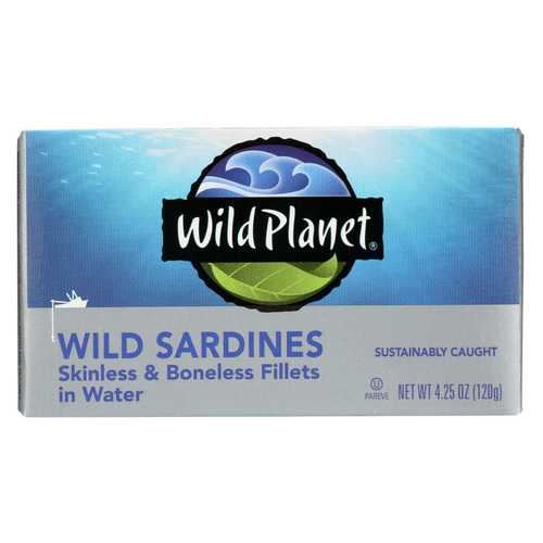 Wild Planet Wild Sardines - Skinless & Boneless Fillets in Water - Case of 12 - 4.25 oz
