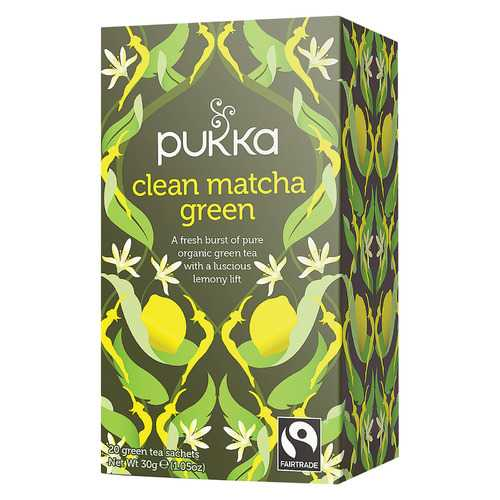 Pukka Herbs Green Tea - Green Clean Matcha - Case of 6 - 20 Bags