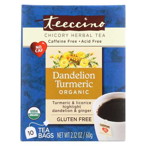 Teeccino Organic Chircory Herbal Tea - Dandelion Turmeric - Case of 6 - 10 BAG