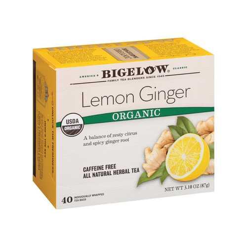 Bigelow Tea Tea - Organic - Limen - Ginger - Herbal - Case of 6 - 40 count