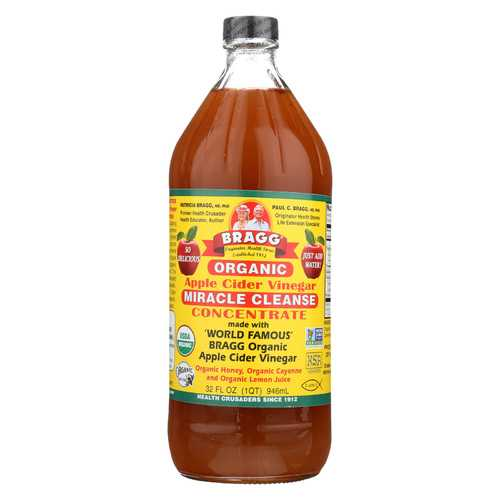 Bragg Organic Apple Cider Vinegar - Miracle Cleanser Concentrate - Case of 12 - 32 fl oz