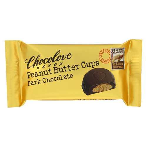 Chocolove Xoxox Cup - Peanut Butter - Dark Chocolate - Case of 12 - 1.2 oz