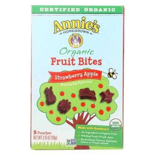 Annie'S Homegrown Fruit Bites Strawberry Apple - Case Of 10 - 3.15 Oz