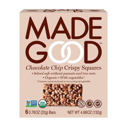 Made Good Crispy Squares - Chocolate Chip - Case of 6 - 4.68 oz.