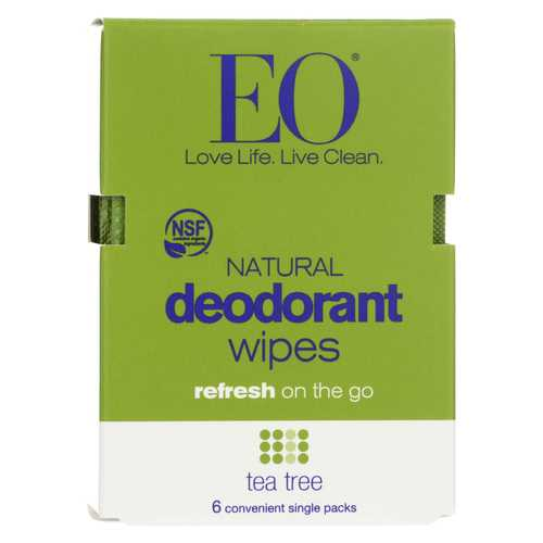 Eo Products Deodorant Wipe - Tea Tree - Case of 12 - 6 count