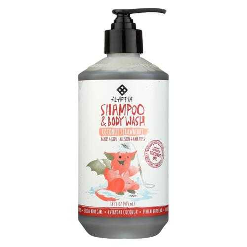 Alaffia - Everyday Shampoo and Body Wash - Coconut Strawberry - 16 fl oz.