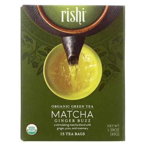 Rishi - Organic Tea - Matcha Ginger Buzz - Case of 6 - 15 Bags