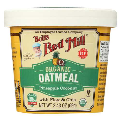 Bob's Red Mill Oatmeal Cup - Organic Pineapple Coconut - Gluten Free - Case of 12 - 2.43 oz