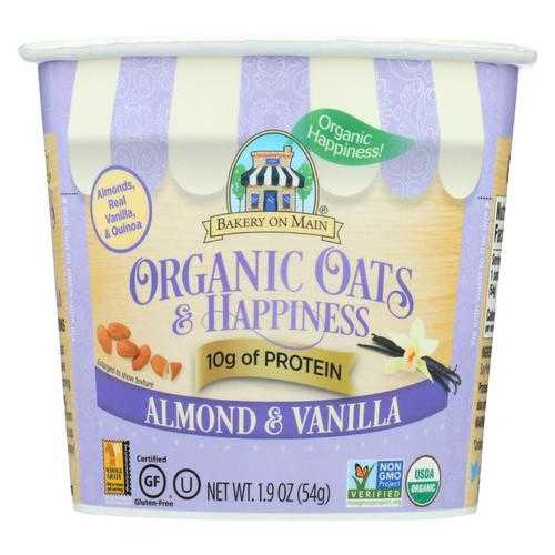 Bakery On Main Oats and Happiness Oatmeal Cup - Almond Vanilla - Case of 12 - 1.9 oz.