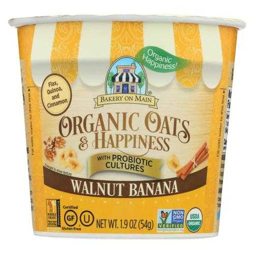 Bakery On Main Oats and Happiness Oatmeal Cup - Walnut Banana - Case of 12 - 1.9 oz.