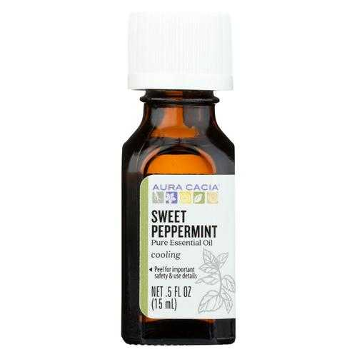 Aura Cacia Essential Oil - Peppermint, Sweet - Case of 1 - .50 fl oz.
