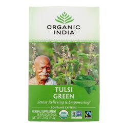Organic India Tulsi Tea Green Tea - 18 Tea Bags - Case of 6