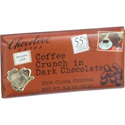 Chocolove Xoxox Premium Chocolate Bar - Dark Chocolate - Coffee Crunch - 3.2 oz Bars - Case of 12