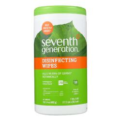 Seventh Generation Disinfecting Wipes Lemongrass and Citrus - 70 Wipes - Case of 6