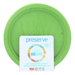 Preserve On the Go Small Reusable Plates - Apple Green - Case of 12 - 10 Pack - 7 in