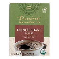 Teeccino French Roast Herbal Coffee Dark Roast - 10 Tea Bags - Case of 6