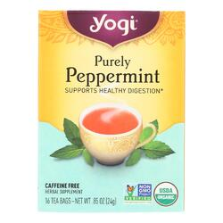 Yogi Organic Herbal Tea Caffeine Free Purely Peppermint - 16 Tea Bags - Case of 6