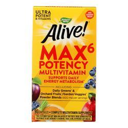 Nature's Way - Alive! Max6 Daily Multi-Vitamin - Max Potency - No Iron Added - 90 Veg Capsules