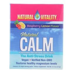 Natural Vitality Magnesium Natural Calm Raspberry Lemon - 30 Packets