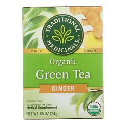 Traditional Medicinals Organic Green Tea Ginger - Case of 6 - 16 Bags