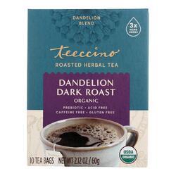 Teeccino Organic Herbal Coffee - Dandelion Dark Roast - 10 Bags - Case of 6