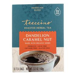 Teeccino Organic Herbal Coffee - Dandelion Caramel Nut - 10 Bags - Case of 6