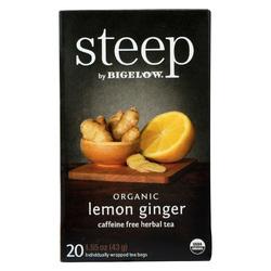 Steep By Bigelow Organic Herbal Tea - Lemon Ginger - Case of 6 - 20 BAGS