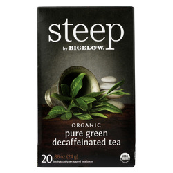 Steep By Bigelow Organic Green Tea - Pure Green Decaf - Case of 6 - 20 BAGS