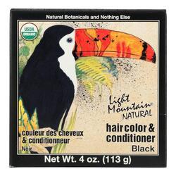 Light Mountain Hair Color/Conditioner - Organic - Black - 4 oz