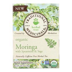 Traditional Medicinals Herb Tea - Organic - Moringa Spearmint Sage - Case of 6 - 16 BAG