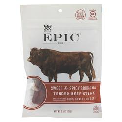 Epic - Jerky Bites - Sweet and Spicy Sriracha Tender Beef Steak - Case of 8 - 2.5 oz.