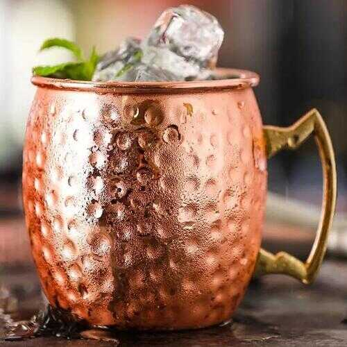 Moscow Mule Mugs Copper Polished Set of 2 - Style: Hammered Look