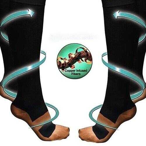 Copper Infused Compression Socks 6-Pack Lightweight - PACK: 3 PAIRS L/XL