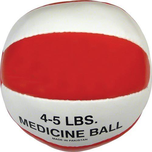 Syn. Leather Medicine Ball - 4-5 lbs. (red)