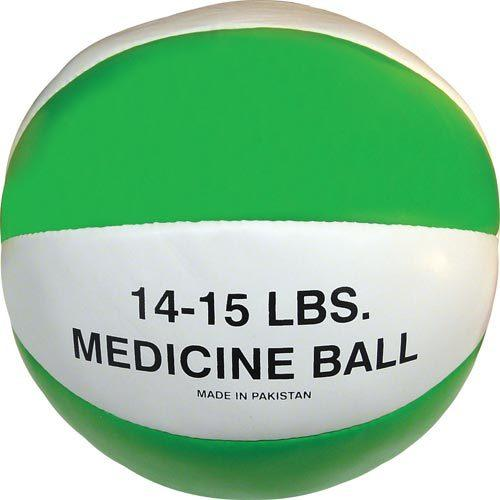 Syn. Leather Medicine Ball - 14-15 lbs. (green)