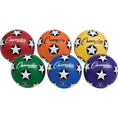 Champion Sports Colored Rubber Soccer Balls - Size 4 (Set of 6)