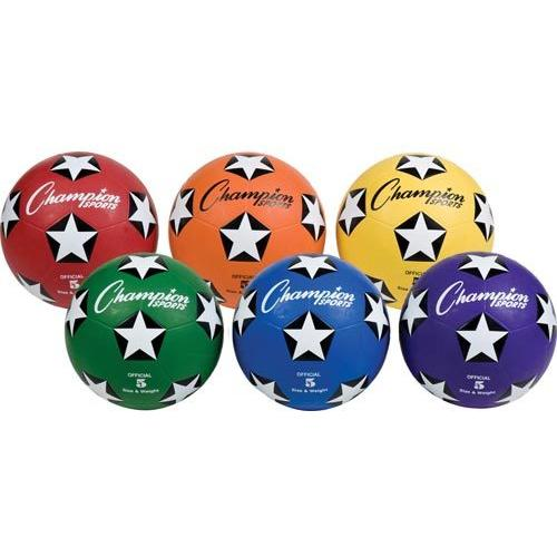 Champion Sports Colored Rubber Soccer Balls - Size 5 (Set of 6)