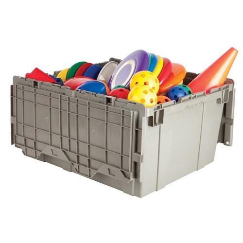 Premium Heavy-Duty Attached Lid Container - Grey