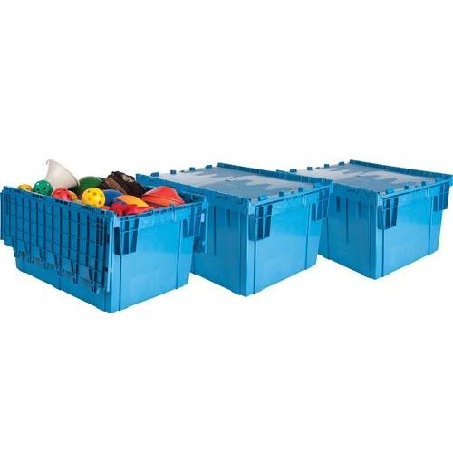 Premium Heavy-Duty Attached Lid Containers - Blue (Set of 3)