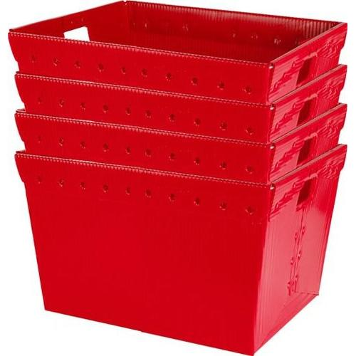 Small Plastic Nesting Storage Totes - Red (Set of 4)