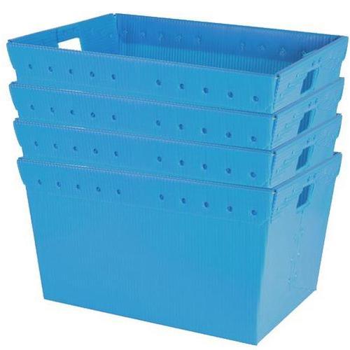 "Large Plastic Nestable Storage Totes - 24"" (Blue)(Set of 4)"