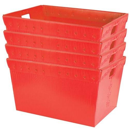 """Large Plastic Nestable Storage Totes - 24"""" (Red)(Set of 4)"""