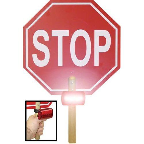 "13"" Crossing Guard Paddle Stop Sign w/ Lights"