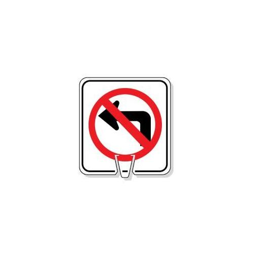 Large Snap-On Cone Sign - No Left Turn