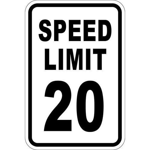 """12"""" x 18"""" Sign - Speed Limit 20"""