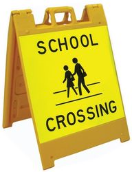 Category: Dropship Safety Equipment, SKU #SA620P, Title: Jumbo Fold-Up Sign - School Crossing (fluorescent yellow/green)