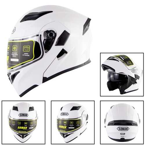 Motorcycle Helmet Unisex Double Lens Uncovered Helmet Off-road Safety Helmet white_XXL
