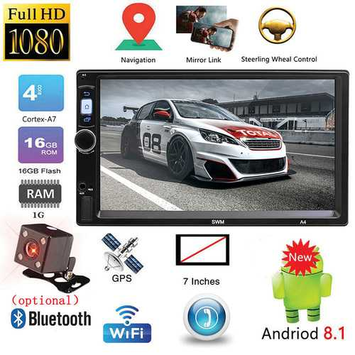 """SWM A4 2 Din Car Radio 7"""" Touch Screen Android 8.1 Car MP5 Player GPS Navigation  Bluetooth WiFi USB FM HD Video Multimedia Player With camera"""